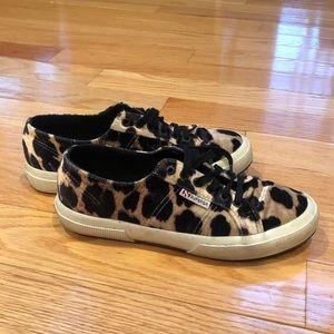 Superga Velvet Leopard Sneakers